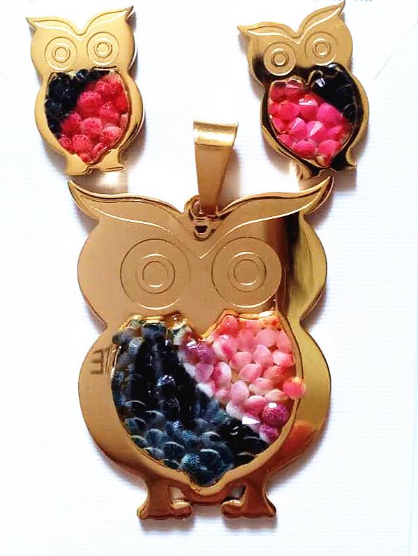 custom name necklace new fashion owl pendant elegant colorful gemstone earring charm pendant set