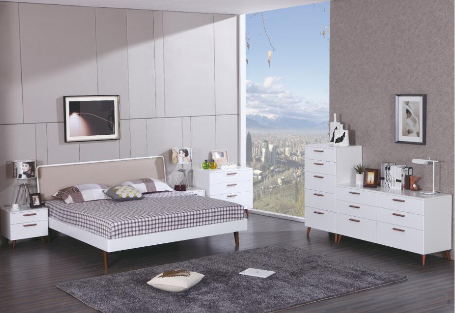 Sale promotion white high gloss lacquer and solid wood bedroom furniture