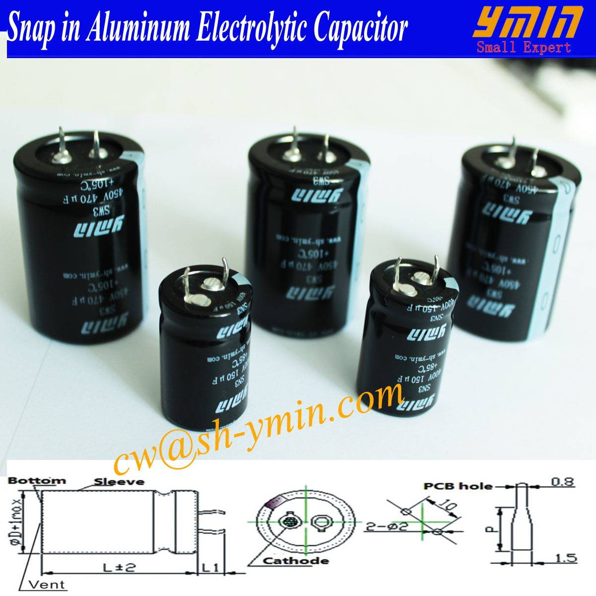Low  Current Loss Capacitor Snap in Electrolytic Capacitor for Electric Car Charging Piles Electric