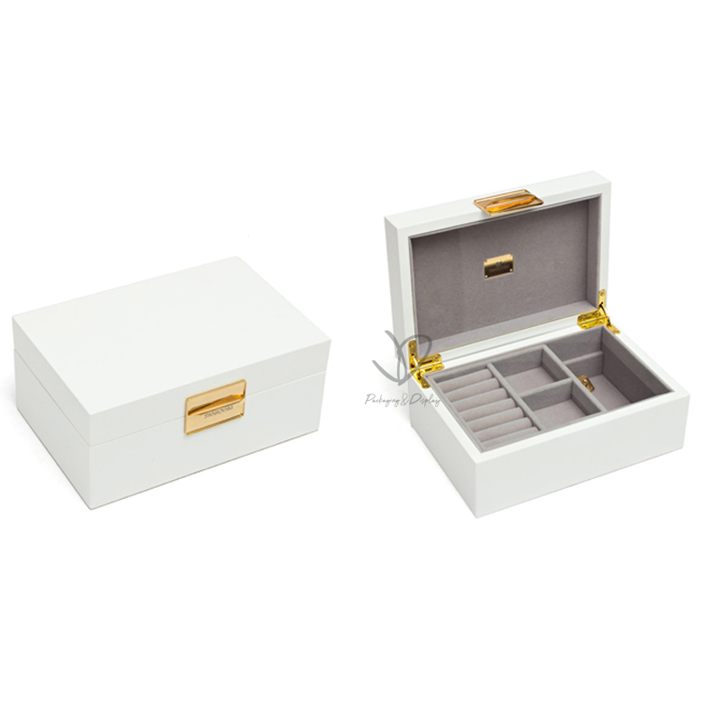 Different Design Low Price High-Quality Glossy White Empty Jewelry Ring Display Box With Your Logo