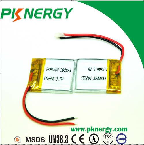 Lithium Polymer Batteries 3.7V 110mAh 302323 AA Lipo Rechargeable Battery for Bluetooth