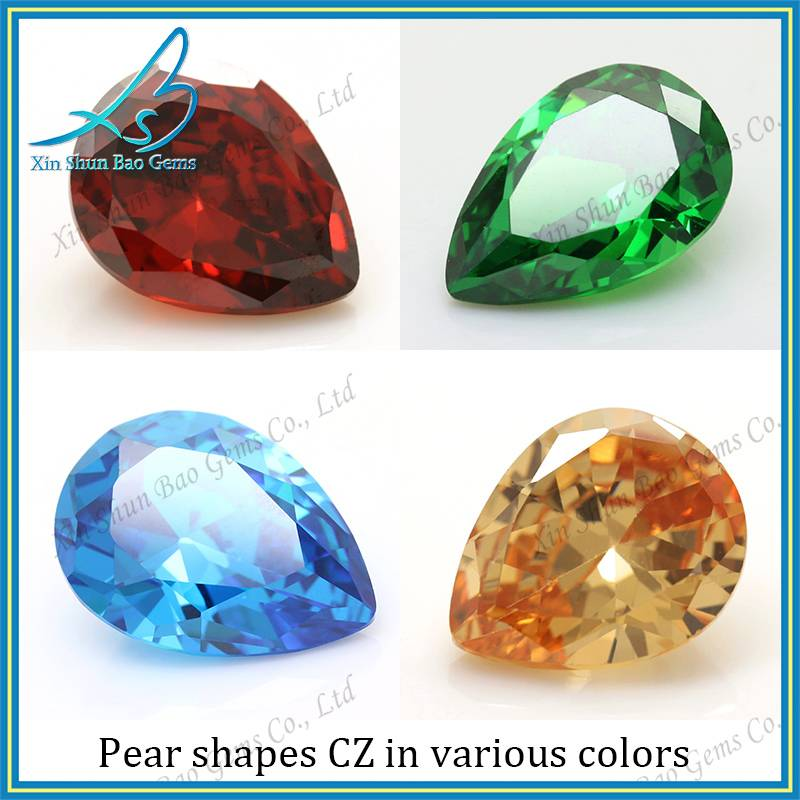 China cubic zirocnia supplier loose pear cz, pear cut cz, pear cubic zirconia