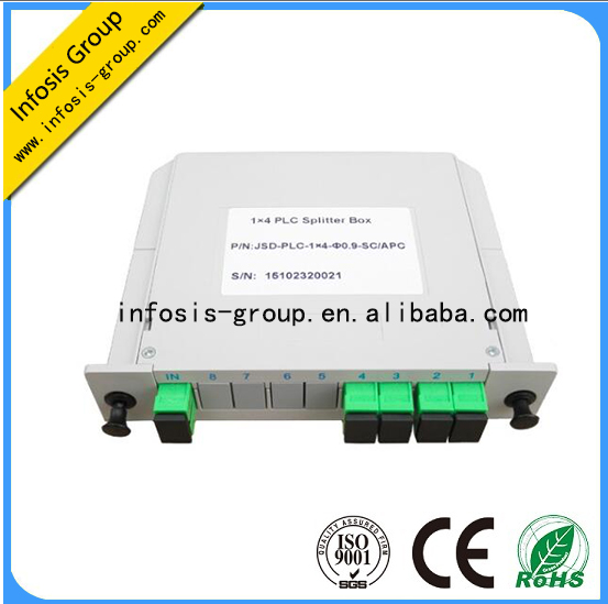 Telecommunication Fiber Optic Equipment Low Insertion Loss 1x4 ABS box/bare fiber/Blockess PLC Split