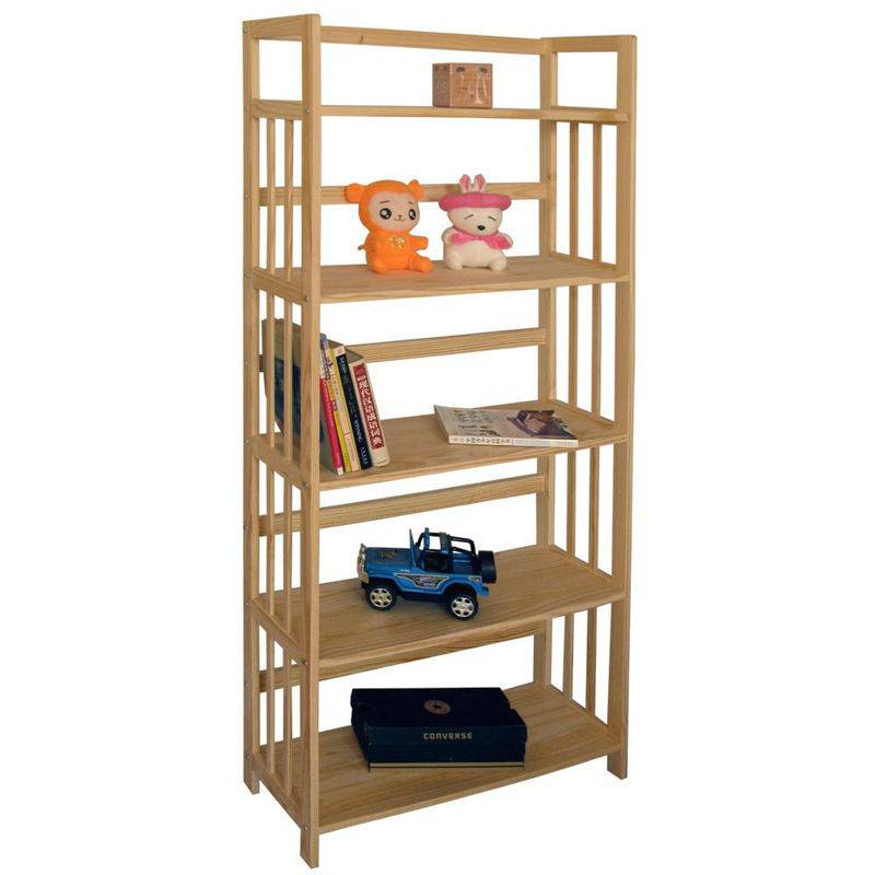 Wooden 5 Shelf Bookcase- Solid Unfinished Pine