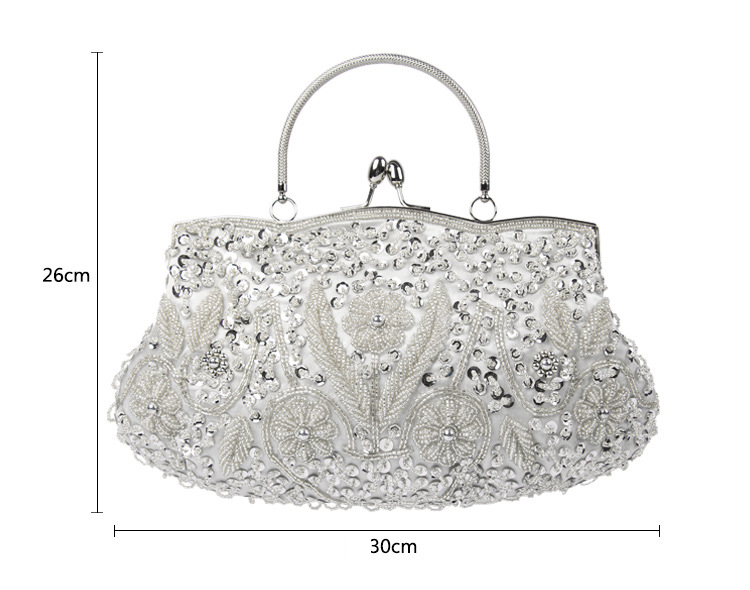 Guangzhou best seller ladies diamond metal silver evening clutch bags with embroidery