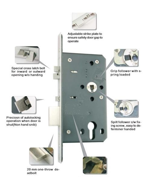 Euro Mortise Lock-TD Series ER-7260TDF