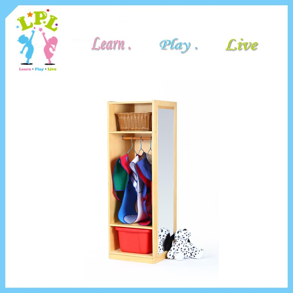2017 Wooden children furniture with mirror kindergarten Kids wardrobe