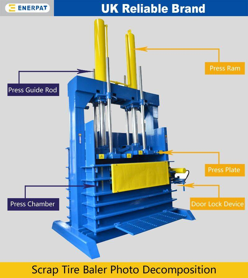 Vertical tyre baler with CE