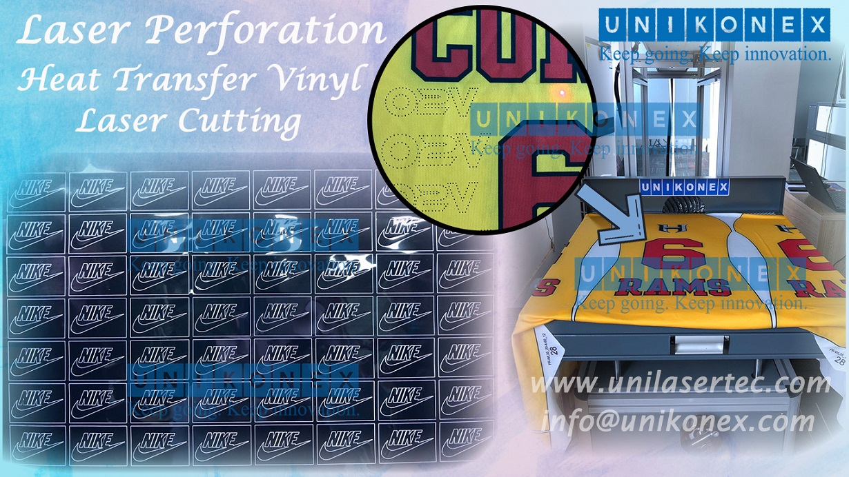 Unikonex laser perforation and heat transfer vinyl laser cutting