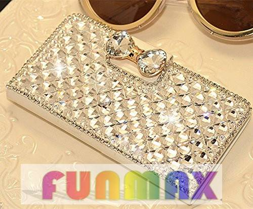 Samsung galaxy s5 Luxurious Bling Crystal Diamante Bow Bone PU Flip Wallet Leather Case Cover -White