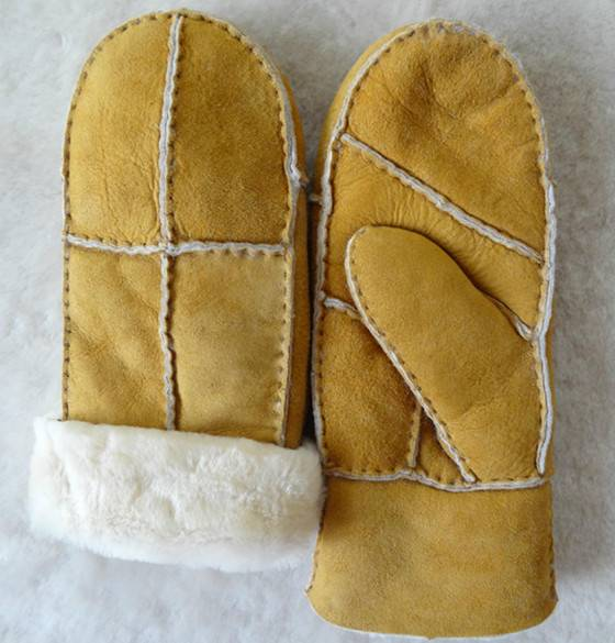 Hot sale double face sheep skin  mitten
