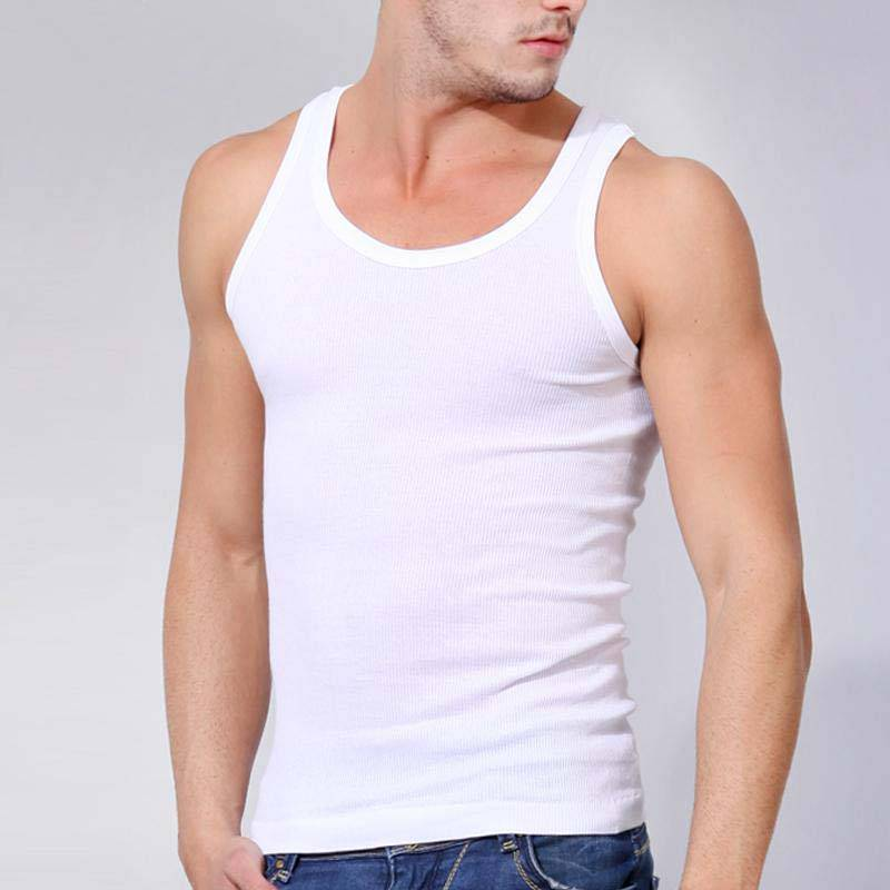 Men's round neck white rib tank top