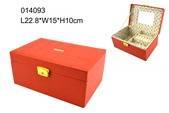 Red PU leather jewelry box with custom-made logo