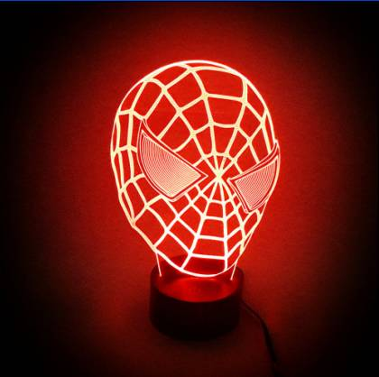 Amazing 3D Illusion led Table Lamp Night Light with spider man shape with 7 color light  YJM-2820