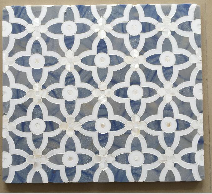 blue stone and white stone water jet mosaic design