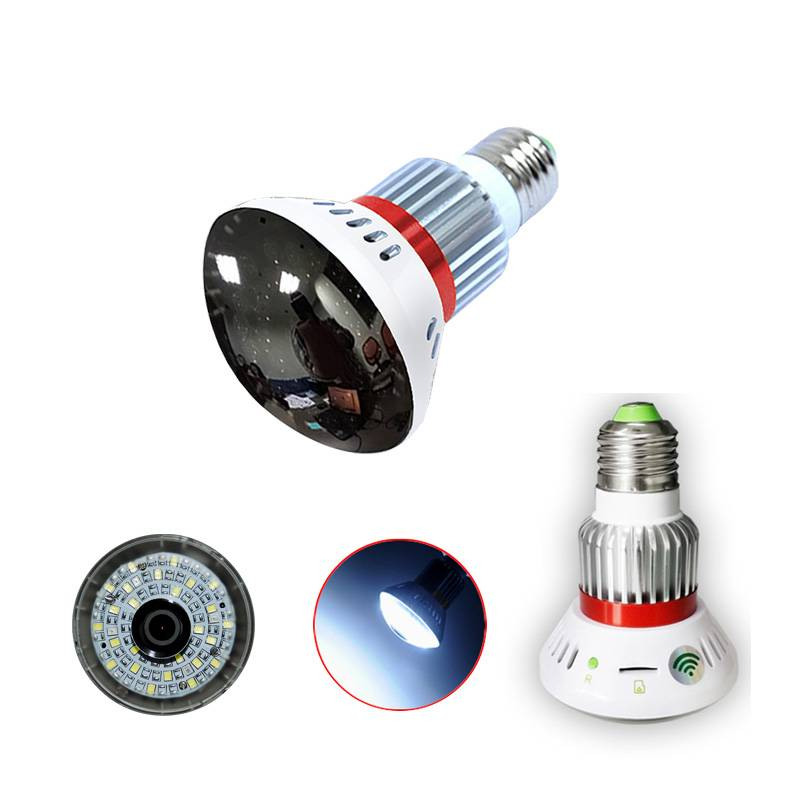 Wireless WiFi Bulb P2P IP Camera with LED Light and Mirror Cover