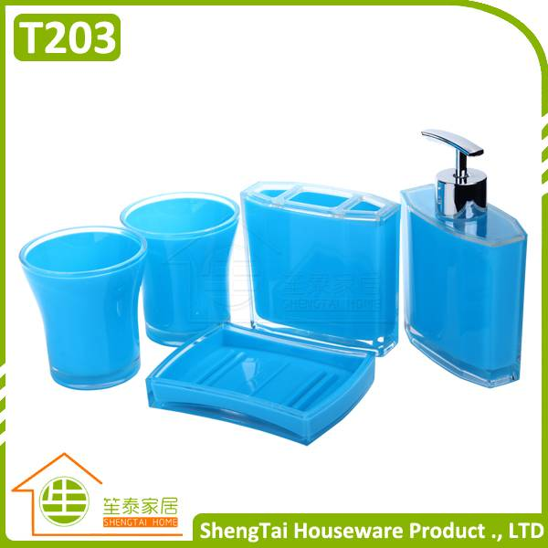 simple design 4 pieces plastic bath accessory set