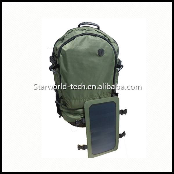 6.5W Solar Panel USB Backpack Folding Travel Outdoor Solar Chargeable Backpack