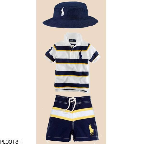 PL0013 polo boy's 3pcs Children clothing set