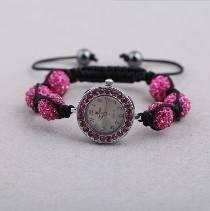 Bracelet Style Watch Shamballa Bracelet With Hot Pink Beads Deco And Elastic Rope