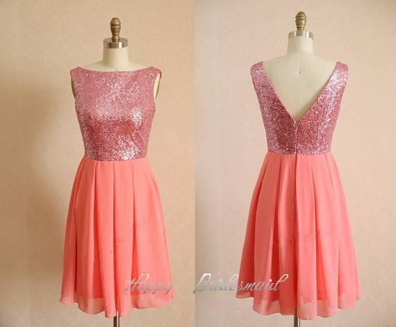 Light Coral Short Sequin Chiffon V-back Prom Dress, Homecoming Dress, Party Dance Dress