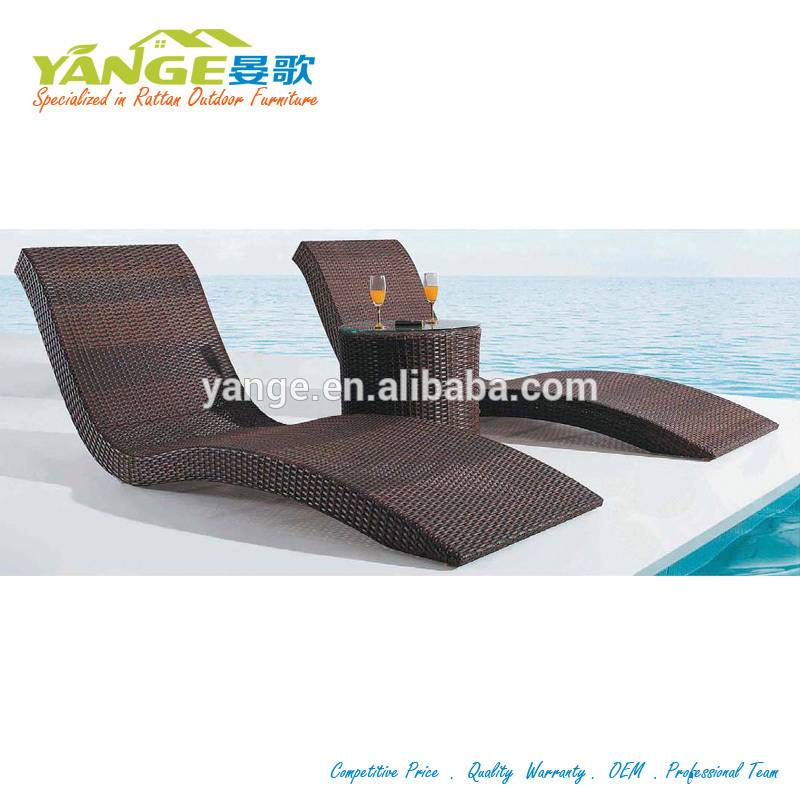 PE rattan outdoor furniture sun lounger chair