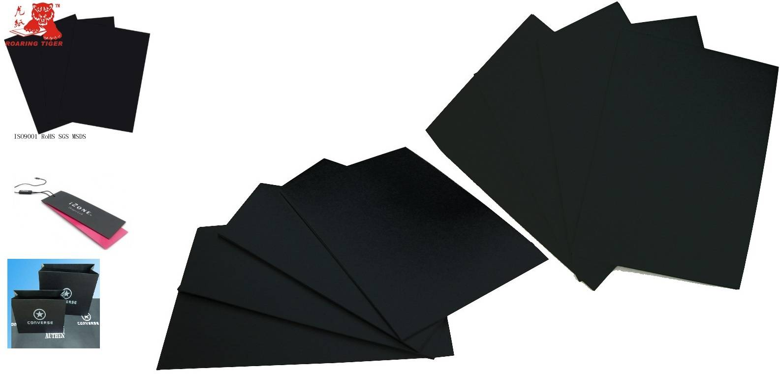 Embossed black cardboard paper /paperboard/paper board/black paper card/color paper/colour paper/blu