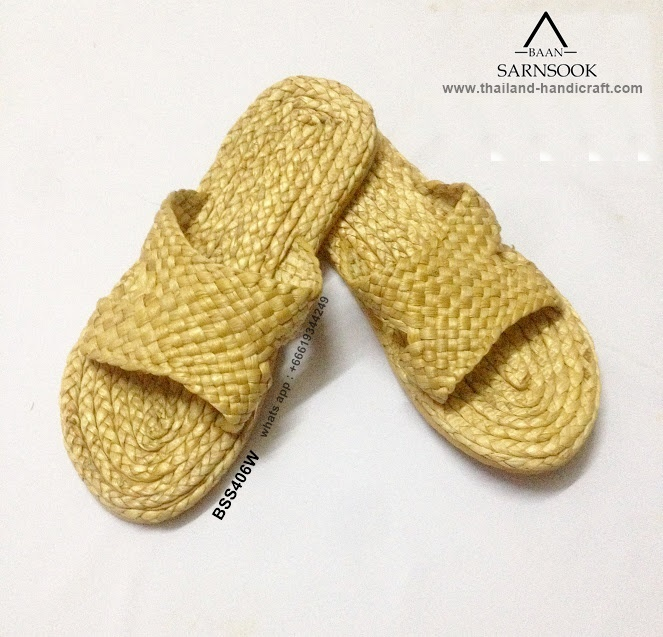 Handmade thick hotel slippers with water Hyacinth from Thailand