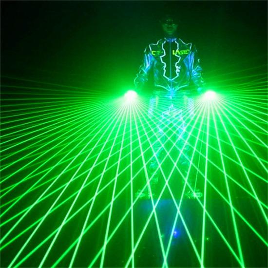 LED Luminous Laser Blue Green Red Light Gloves