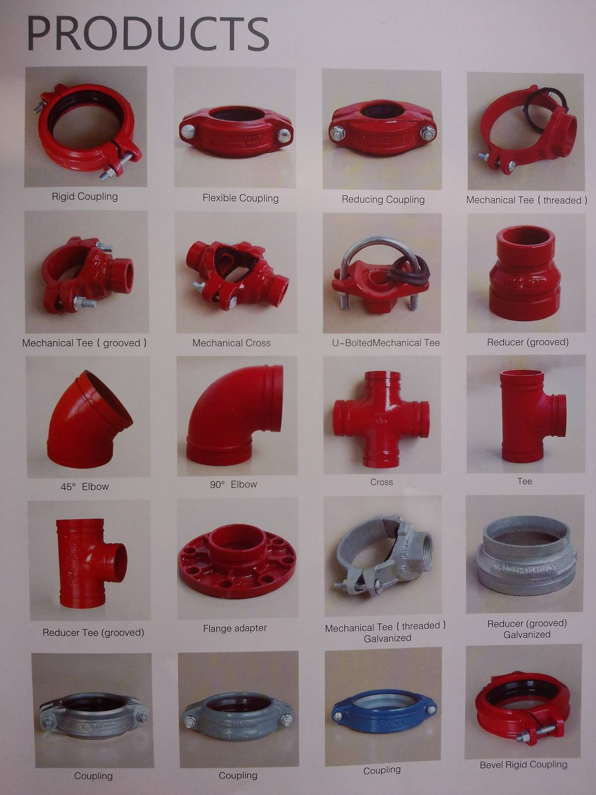 China FM UL cUL approved ductile iron grooved coupling and pipe fitting flange