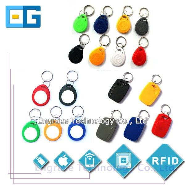 RFID keyfobs, ABS, PVC, epoxy, silicone, leather