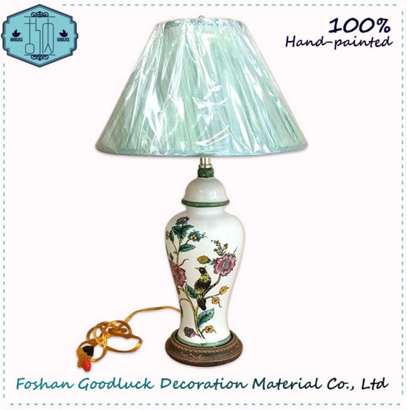 Hand Painted White Color Bird Pattern Wedding Chinese Ceramic Table Lamps