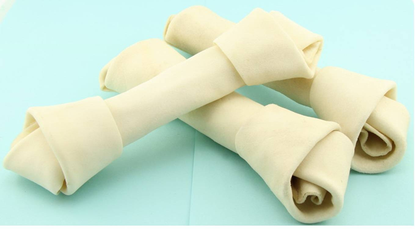 Knotted Bone Bleached Rawhide Beef product