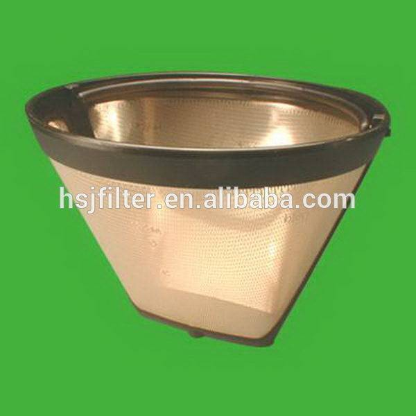 High quality with plastic coffee filter with golden color mesh