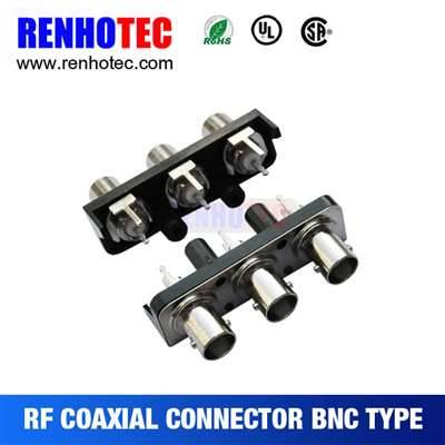 Straight three BNC female connectors in one row