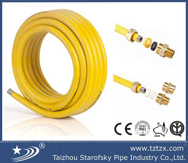 stainless steel flexible corrugated gas hose with yellow coating