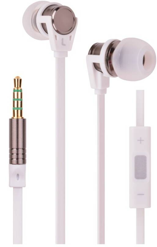Fashional metallic stereo in-ear earphone/earbud with microphone and line-controlled,flat wired