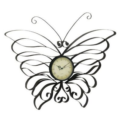 Metal Butterfly Metal Wall Clock Multi Color Home Décor