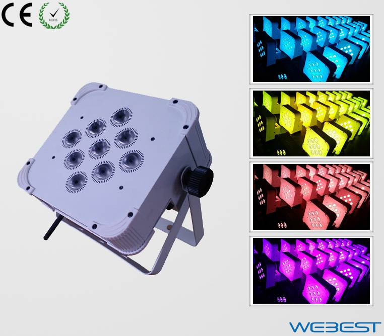 9 lens 5W RGBAW 5in1 Rechargeable Wireless DMX LED Flat Par