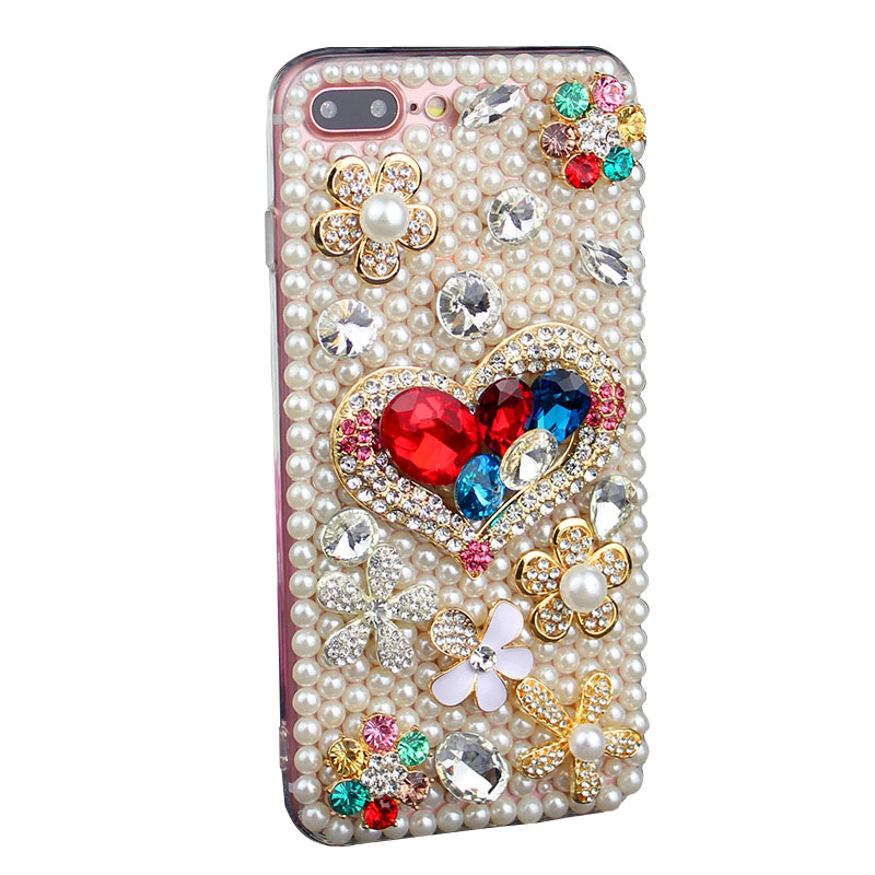 Luxury Handmade Full Pearls Diamonds Mobile Case for iPhone X/8/7/6splus Samsung S6/S7/S8+