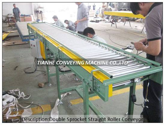 motor driving single double sprokcet roller conveyor,motor driving single double chain driving rolle