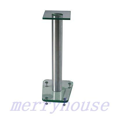 "32"" High Speaker Stands Glass / aluminium Black"