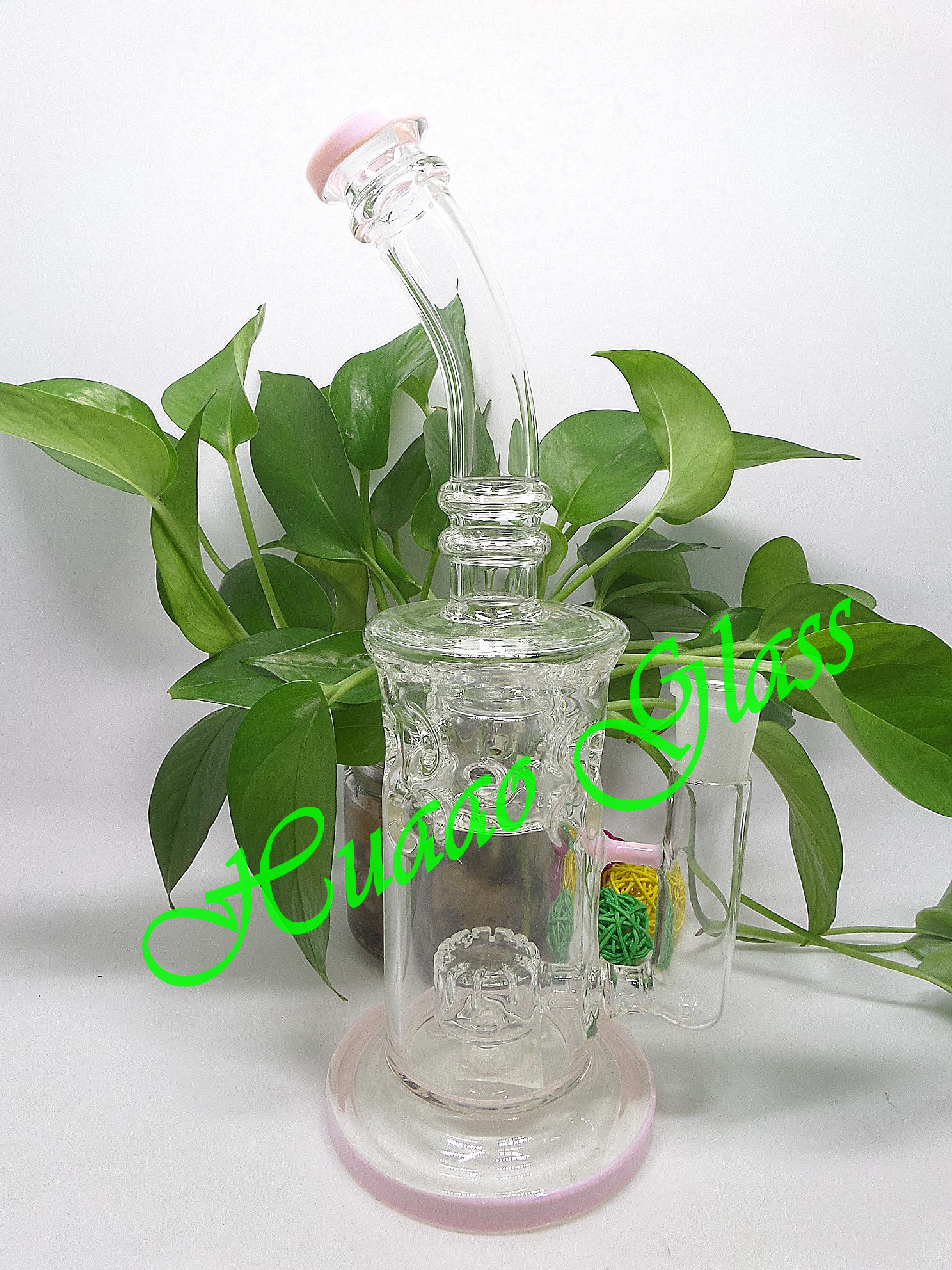 External circulation glass water pipe handmade high borosilicate glass clean and pink