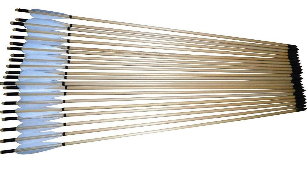 Generic Vintage Handmade Wooden Arrows Shaft Streamline Color White Pack of 21