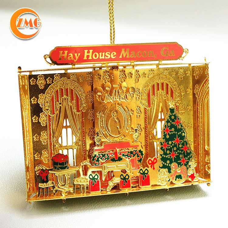 high quality holiday decorations customized 3D metal Christmas hanging ornaments