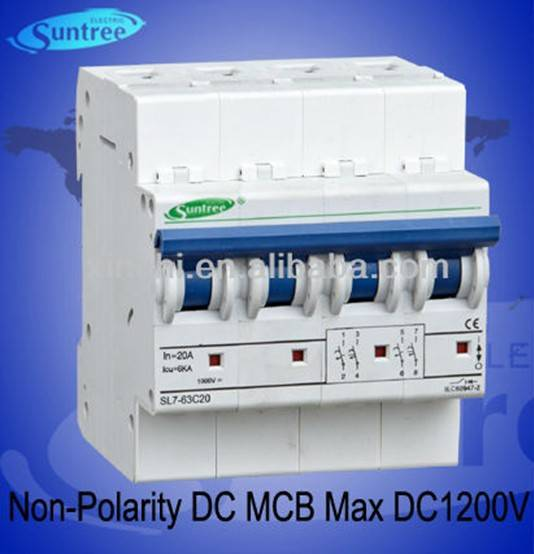DC1000V Non-polarity DC MCB circuit breaker for solar system has passed IEC, TUV, SAA, CE certificat
