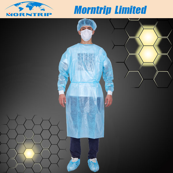 Cheap Personal Protective Disposable Isolation Gown with PE Film