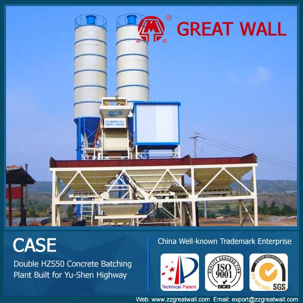 China Well-known Trademark HZS50 Concrete Batching Plant