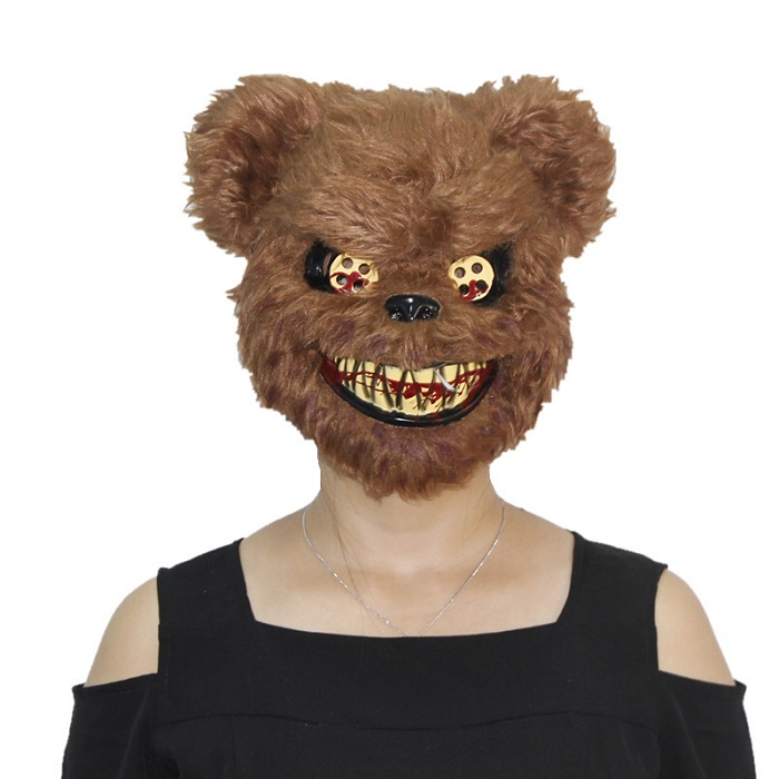 X-MERRY TOY Scary Killer Teddy Bear Mask Adult Evil Psycho Halloween Costume Fancy Dress Plastic Ma