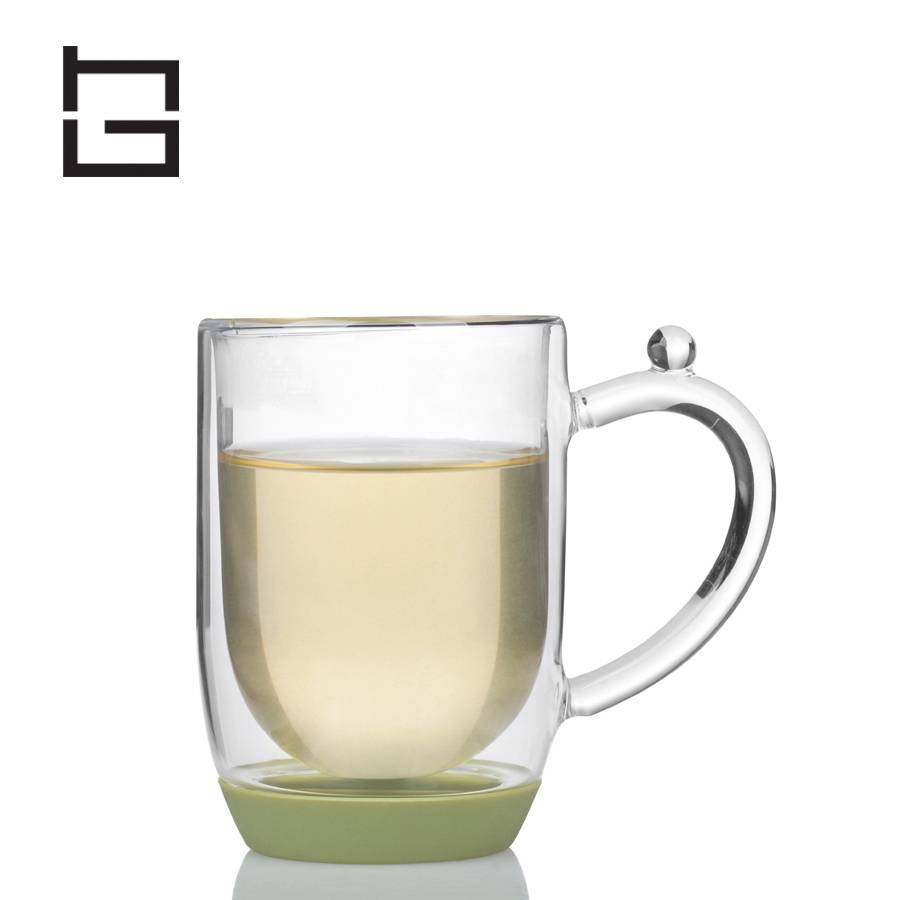 HG H12035 Non-slip Silicon and borosilicate double wall glass Cup